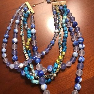 Blue beaded chunky statement necklace